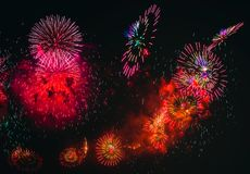 Colorful fireworks explosion on the black background royalty free stock image