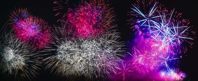 Colorful fireworks explosion on the black background royalty free stock photo