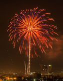Colorful fireworks explosion in the dark sky. Colorful fireworks explosion in dark sky Royalty Free Stock Images