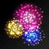 Colorful fireworks explosion on transparent background. Blue, pink and yellow lights. New Year, birthday and holiday celebration fireworks on black. Abstract Royalty Free Stock Images
