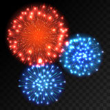 Colorful fireworks explosion on transparent background. Blue and red lights. New Year or holiday celebration fireworks on black. Abstract Vector illustration Royalty Free Stock Photo