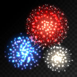 Colorful fireworks explosion on transparent background. Blue, white and red lights. New Year or holiday celebration fireworks on black. Abstract Vector Royalty Free Stock Photo