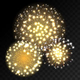 Colorful fireworks explosion on transparent background. White, gold and yellow lights. New Year, birthday and holiday celebration fireworks on black. Abstract Royalty Free Stock Photo