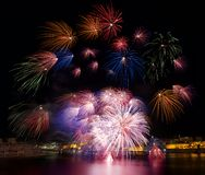 Colorful fireworks explosion in Valletta, Malta Royalty Free Stock Images