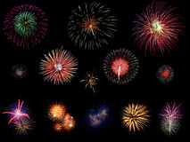 Colorful fireworks explosions Stock Image