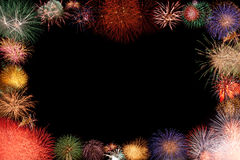 Colorful fireworks frame Royalty Free Stock Photo