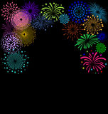 Colorful Fireworks  frame on black background. For Celebration Party Stock Photos