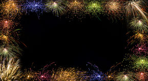 Colorful Fireworks Frame. A festive night photo frame with beautiful fireworks Royalty Free Stock Photography