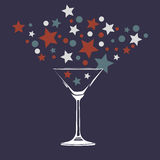 Colorful fireworks of glass. Stars and balls fly out of the glass. Vector Stock Photos