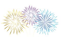 Colorful fireworks gold pink and blue isolated on white background vector illustration