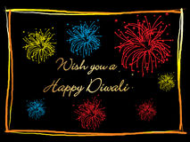 Colorful fireworks for happy deepawali Stock Images