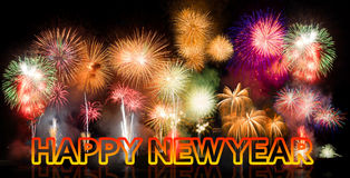 Colorful fireworks with Happy New Year Stock Images