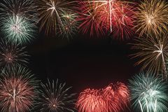 Colorful of fireworks in holiday new year festival stock photography