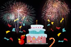 Colorful of fireworks in holiday new year festival royalty free illustration