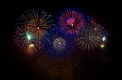 Colorful fireworks on a holiday night Stock Photography