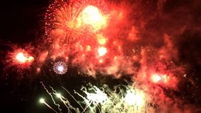 Colorful fireworks at holiday night stock video footage