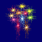 Colorful fireworks in honor of Victory Day on a blue background illustration. Colorful fireworks in honor of Victory Day on a blue background vector Stock Image