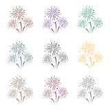 Colorful fireworks icon in black style isolated on white background. Event service symbol stock vector illustration. Colorful fireworks icon in black style Royalty Free Stock Image