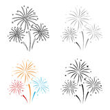 Colorful fireworks icon in cartoon style isolated on white background. Event service symbol stock vector illustration. Colorful fireworks icon in cartoon style Royalty Free Stock Images