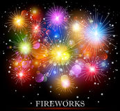 Colorful fireworks. Illustration of Colorful fireworks background Stock Images