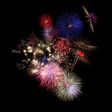 Colorful fireworks. Isolated on Black Royalty Free Stock Images