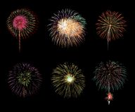 Colorful fireworks on black background royalty free stock images