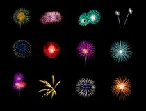 Colorful fireworks isolated on black background stock photography