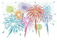 Colorful fireworks isolated on white background. Vector illustration Royalty Free Stock Images
