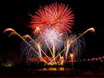 Colorful fireworks with multiple bursts  against dark sky. Colorful fireworks with multiple bursts against dark sky Royalty Free Stock Photo