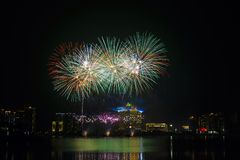 colorful fireworks near river Stock Photos