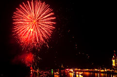 Colorful Fireworks in night at Bangpakong river Royalty Free Stock Photography