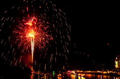 Colorful Fireworks in night at Bangpakong river Royalty Free Stock Image