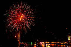 Colorful Fireworks in night at Bangpakong river Stock Photos