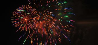 Colorful Fireworks in Night Sky Stock Photo