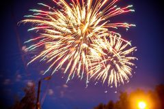 Colorful fireworks on night sky. Explosions of pyrotechnics at festival. Colorful fireworks on the night sky. Explosions of pyrotechnics at the festival stock image