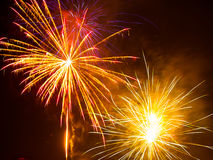 Colorful fireworks in the night sky. Happy new year celebration abstrackt background Stock Photography