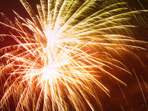 Colorful fireworks in the night sky. Happy new year celebration abstrackt background Stock Photos
