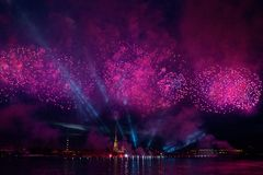 Colorful fireworks at night in St. Petersburg over the Neva for stock photo
