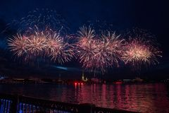 Colorful fireworks at night in St. Petersburg over the Neva for royalty free stock photos