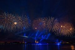 Colorful fireworks at night in St. Petersburg over the Neva for stock photos