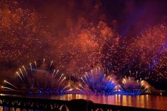 Colorful fireworks at night in St. Petersburg over the Neva for stock images