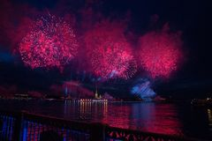 Colorful fireworks at night in St. Petersburg over the Neva for royalty free stock photo