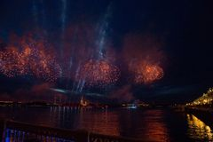 Colorful fireworks at night in St. Petersburg over the Neva for stock image