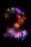 Colorful fireworks number 2  for 2017 -  beautiful colorful fire Stock Photography