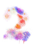 Colorful fireworks number 2  for 2017 -  beautiful colorful fire Royalty Free Stock Photography