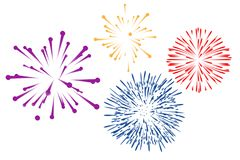 Free Colorful Fireworks On White Background . Illustration Design Stock Photos - 162056743