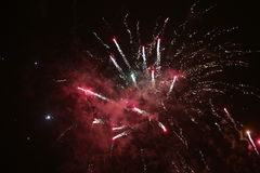 Colorful fireworks over black sky Royalty Free Stock Images