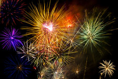 Colorful fireworks over dark sky Stock Image