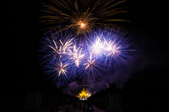 Colorful fireworks over dark sky Royalty Free Stock Photos