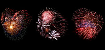 Colorful fireworks over dark sky. Beautiful colorful holiday fireworks set Royalty Free Stock Photo